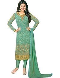 Exotic India Smoke-Green Ayesha Long Choodidaar Kameez Suit With Golden- - Green