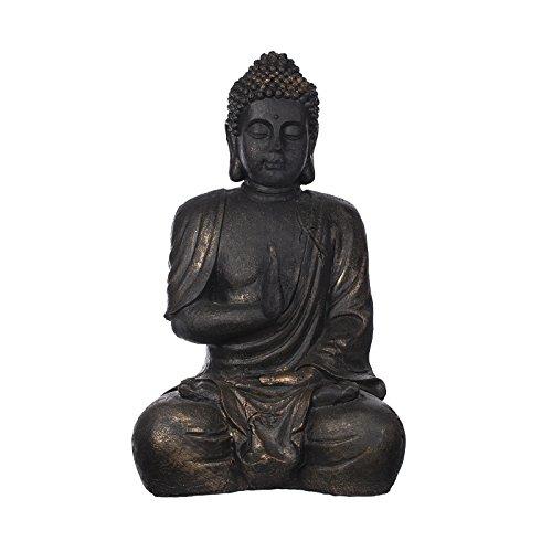 Riesiger Buddha B1673 Bronze oder Steingrau, für Innen und Außen, Buddha Figur XXL 100 cm hoch , Buddha Statue groß, Büste, Gartendekoration, Wetterfest (nicht frostsicher) aus Kunststein (Polyresin) sehr aufwendig per Hand bemalt, sehr feine Strukturen (Bronze)