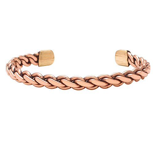 Memoir Copper Twisted wire magnetic ends free size Adjustable Health benificial Bangle Bracelet Cuff Kada for Men and Women