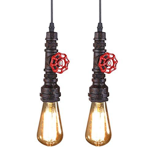 Fuloon 2 x Hängeleuchte Retro E27 Hängelampe Halterung, LED Lampe Pendelleuchte Leuchtmittel Bronze Wasserrohre Style für Bar, Kaffee, Wohnzimmer, Schlafzimmer usw... ohne Glünbirne - Bronze 2-glühbirne