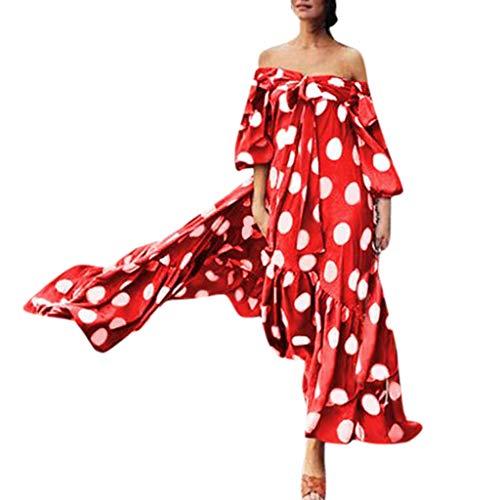 BHYDRY Frauen Arbeiten Tupfen gedrucktes Kleid-kalte Schulter-Spitze-Rüsche-Bogen-Kleid um - Maxi-kleid Glanz Silber