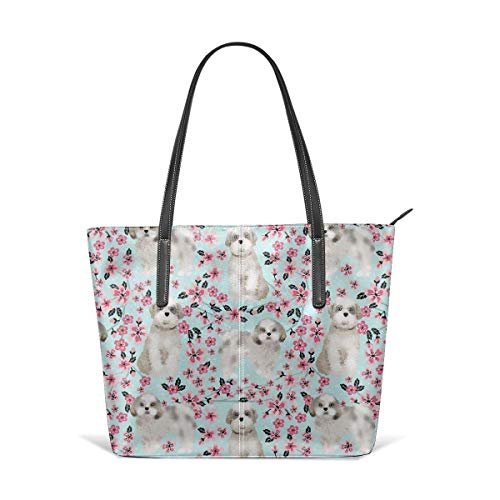 XGBags Cherry Blossom White Blue Shih Tzu Dog Puppy Men Women Leather Tote Bags Satchel Top Handle Bags Shoulder Leisure Handbags For Ladies Shopping Bag Office Briefcase Tote Umhängetaschen Telefon Cherry Blossom