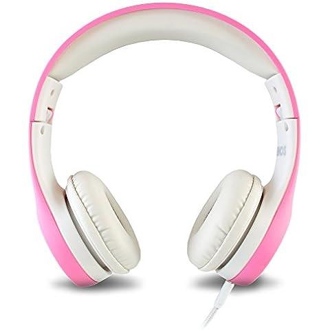 Auriculares de niños Nenos auriculares de niños audífonos para niños auriculares internos para niños Auriculares de ordenador para niños volumen limitado de auriculares plegables (Pink)
