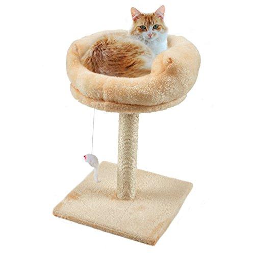 Kratzbäume Katzenbaum Kratzsäule für Katzen Mit hängende Maus Spielzeug Weich Plüsch Kätzchen Play Aktivität Baum Palace Platform Sofabett 30 × 30 × 40 cm (Katze Barsch Baum)
