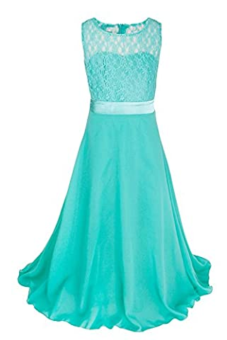 TiaoBug Girls Dresses Princess Lace Wedding Pageant Party Flower Girl Dress Turquoise 10 Years