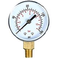 KKmoon 0~160 psi 0~11 bar Medidor de presión mecánica de doble escala Filtro de piscina Medidor de presión de aire de agua de acuario Medidor de presión de gas de 1/8 pulgada NPT
