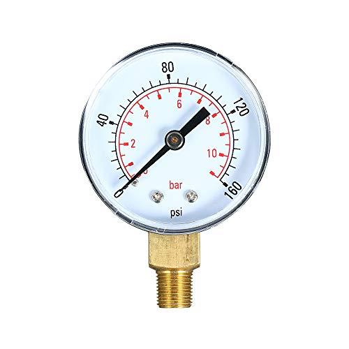 Walmeck Dual Scale Mechanische Manometer 0~160 psi 0~11bar 1/8 zoll NPT Bottom Mount Pool Filter Aquarium Wasser Luftdruckprüfer Gas Manometer Meter -