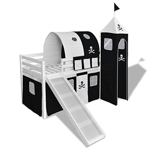 Lingjiushopping cama a altillos para niños con tobogán y escalera de madera negro y blanco color la cortina Color Negro y Blanco Color de la montura color blanco