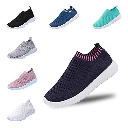 YWLINK Mode Mesh Damen Sneakers Outdoor Mesh Freizeit Sportschuhe Klassisch Atmungsaktive Laufschuhe (B Dunkelblau,36 EU)