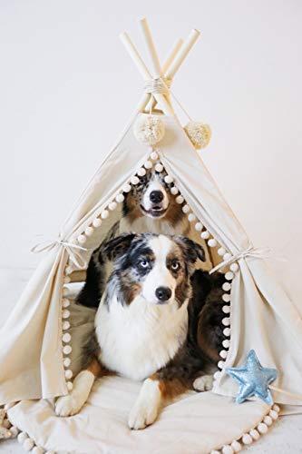 Luxus Großes Hundebett, Hunde Tipi, Hundebett groß, Tipi für Haustier, Bett für Hund aus natürlichem Baumwolle und Holz, Hergestellt in EU! (Größe L)