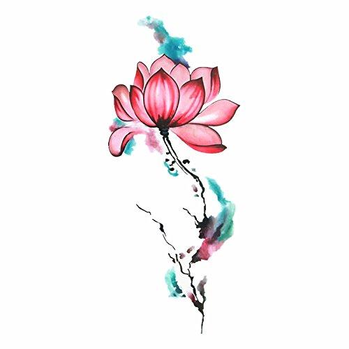 emporäre Gefälschte Tätowierungsaufkleber Reizvolle Kühle Rosafarbene Lotosblumen-Ölfarbe-Weinlese Large21X10Cm4Ps ()
