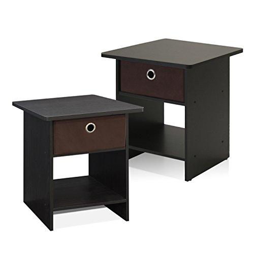 Furinno Ende Tisch/Nacht Stehen Abstellfläche mit Bin Schublade, Espresso/Braun, Satz von Zwei -