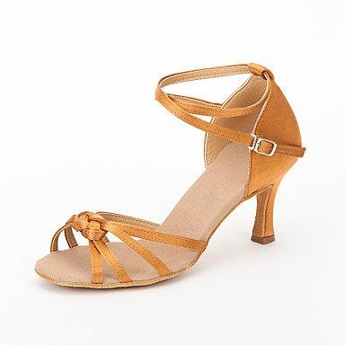 Silence @ Chaussures de danse pour femme piste de danse/Latin/Salsa satiné Stiletto Talon Noir/marron/rouge marron