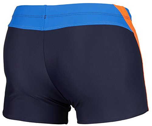Zagano Herren Badehose / Schwimmhose / S - XXL / Kordelzug 01. Dunkelblau/Orange