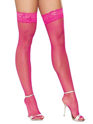 Dreamgirl Halterlose Netzstrümpfe: Milan, pink (One Size)