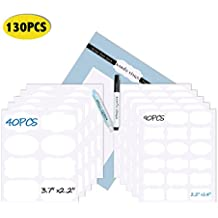 Nardo visgo® 130-pack Pizarra Etiquetas Pegatinas con 2 borrable Marcadores de tiza – reutilizable con Durable libre de polvo perfecto para tarros de pantries y otras manualidades (Blanco)