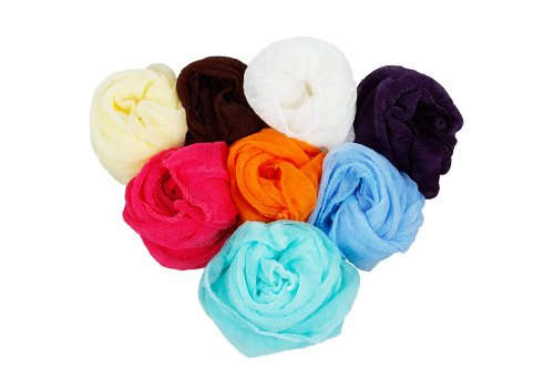 Bundle Monster - 3PC Frauen Fancy Fashion Fringe Schal Schal Pashmina Schal Farbe gemischt Lot-Set 2 Fancy Fringe