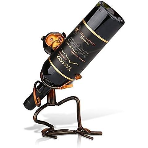 Tooarts Scimmia Decorazione Scultorea Casa Bottiglia di Vino a Forma di Mensola Supporto del Vino Scultura in Metallo Mestieri Decorazione d