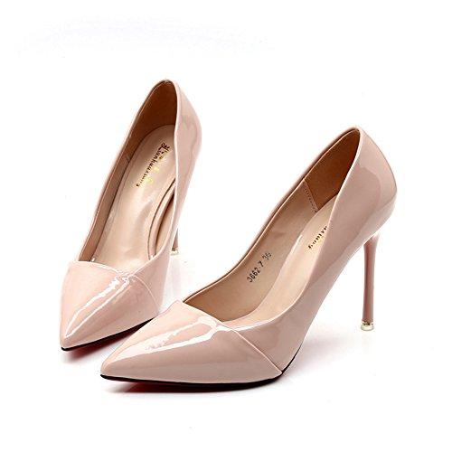 Damen Moderne Geschlossen Pumps Weich Nubukleder Stiletto Anti-Rutsch Atmungsaktiv Hochzeitschuhe Pink