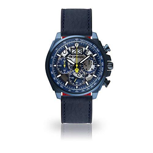 DETOMASO LIVELLO Herren-Armbanduhr Chronograph Analog Quarz dunkelblaues Edelstahl-Gehäuse blaues Zifferblatt italienisches Lederarmband - mit 5 Jahre Herstellergarantie (Leder - Dunkelblau)
