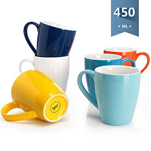 Sweese 6202 6-teilig 450ml Kaffeetassen Kaffeebecher Set aus Porzellan, Milch Tee Becherset, Tasse mit großem Henkel für Heißgetränke, Verschiedene Farben