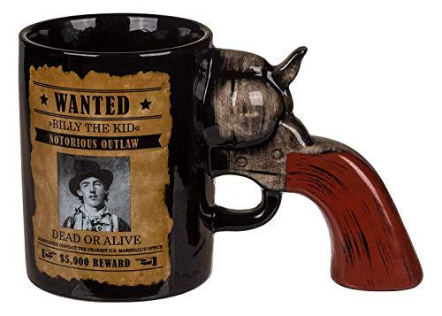 KOSxBO® Witzige Kaffeetasse mit Revolvergriff als Henkel - perfekt für Western und Waffen Fans Teetasse (Airsoft Revolver Western)
