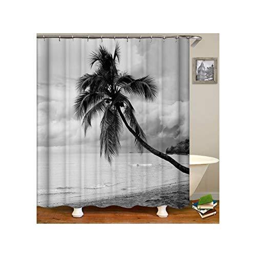 Knbob Polyester Duschvorhang Strand Kokospalme Badewanne Vorhang 165x200CM mit 12 Duschvorhangringen -