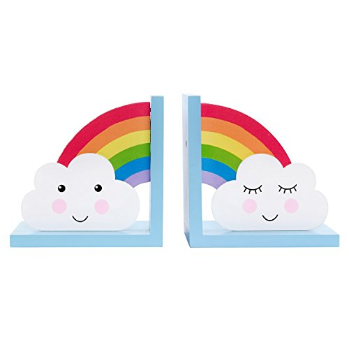 Sass & Belle Day Dreams Wooden Bookends - Rainbow/Cloud Set of 2