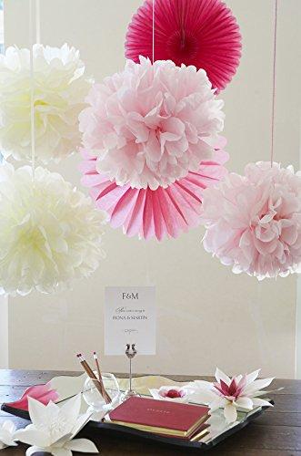SUNBEAUTY 20 piezas Pom Poms bola de papel decoraciones de Baby shower boda fiesta Santa semana (Mixto de color