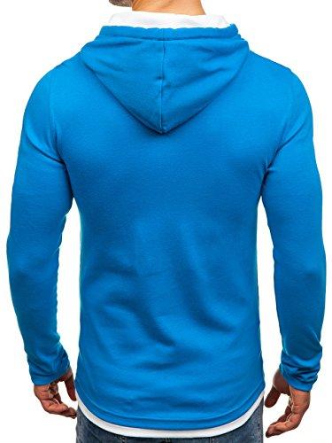 BOLF Herren Kapuzenpullover Sweatshirt Langarmshirt Pulli Hoodie Basic 1A1 Blau_03