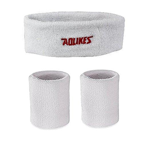MAIBU Schweißband-Set - (1 Stirnband und 2 Wristband) Soft Tennis-Yoga-Lauftraining Sweat Wicking Bands (Weiß) (Pony Auf Einem Stirnband)