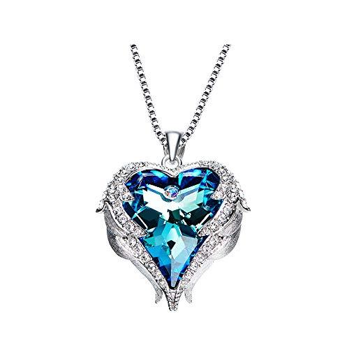 Joeyan Schöne Swarovski Element Kristall Mode Ocean Herz Halskette Damen Schmuck Kette, Blue (Mode-schmuck-schlange-ketten)
