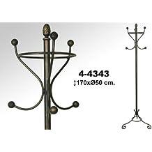 DonRegaloWeb - Perchero de pie de forja de 3 brazos y 6 ganchos en color negro con patina de oro