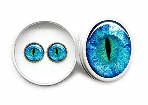 Gótico Vintage Ojos de gato azul Pendientes / Aretes Para las Niñas y los Regalos de las Mujeres Hipoalergénico y Libre de níquel