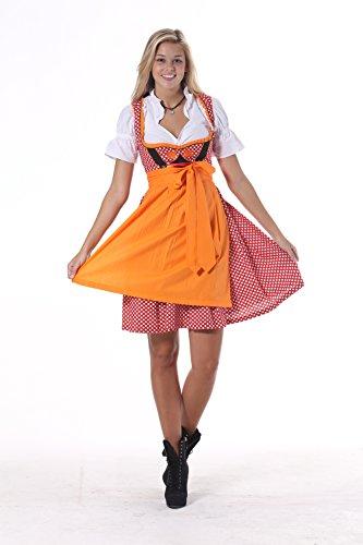 Oscartrachten, 3tlg. Dirndl-Set - Trachtenkleid, Bluse, Schürze - Dirndl midi orange-rot kariert, Größe: 50