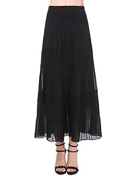 NASHALYLY Falda Plisada Larga Para Mujer, Falda Casual Para el Verano Mujeres Gasa Retro Largo Maxi Falda
