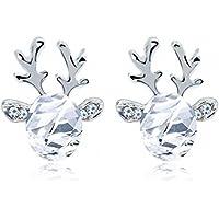 Crystal Earrings,WINWINTOM Christmas Crystal Reindeer Antlers Earrings