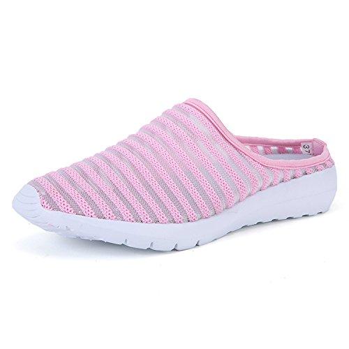 Malha Respirável Senhoras E Meninas Welltree Anti-derrapante Sapatos De Lazer Andando Sapatos Fechados Toe Chinelos Em Casa Rosa