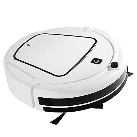 Robot de Balayage Automatique Automatique Robot de Nettoyage à Vide à la Maison Auto Robot à Aspirateur Automatique avec une Fonction de Charge de Retour Automatique Puissante,Blanc