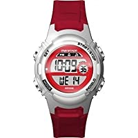Timex Children's Quartz Watch with LCD Dial Digital Display and Red Resin Strap TW5M11300