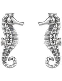Silver Seahorse Stud Earring