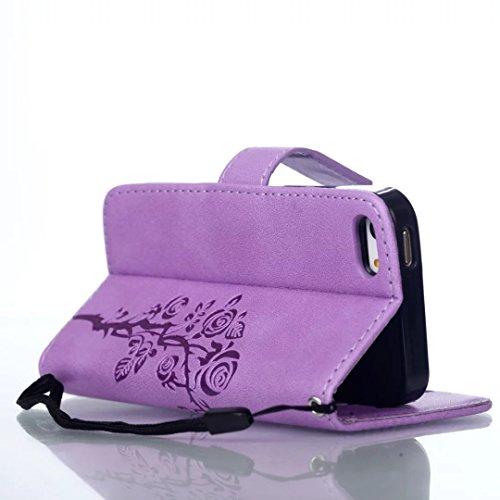 iPhone Case Cover Strap Lanyard Boîtier en cuir synthétique PU Folio Wallet Case Shell avec fentes de carte Fermeture magnétique en relief motif de fleurs Housse pour iPhone 5S 5 SE ( Color : Purple , Purple