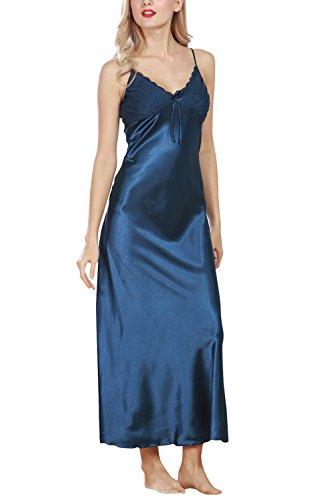 Dolamen Damen Satin Nachthemd Negliee, Spitze Sleepshirt Schlafanzug, Luxus und Sexy Ladies Lang Nachtwäsche Nachtkleid Lingerie Pyjamas Sleepwear (Medium, Blau) (Spitzen-satin-sleepshirt)