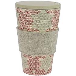 Termo de café hecho de bambú | con tapón de rosca, anilla de fieltro lana auténtica | Taza de café, taza para beber | Biodegradable, y respetuoso con el medio ambiente | Seguro para alimentos, apto para lavavajillas
