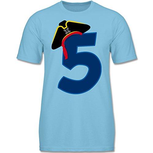 Geburtstag Kind - 5. Geburtstag Piratenhut - 116 (5-6 Jahre) - Hellblau - F140K - Kinder T-Shirt für (Outfits Piraten Echte)