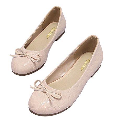 Guoar Flache Große Größe Damenschuhe Round Toe Süße Geschlossene Ballerinas mit Bowknot Beige