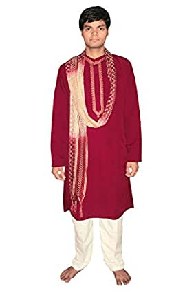 Bollywood Hommes Indian Suit Rouge Taille XXL