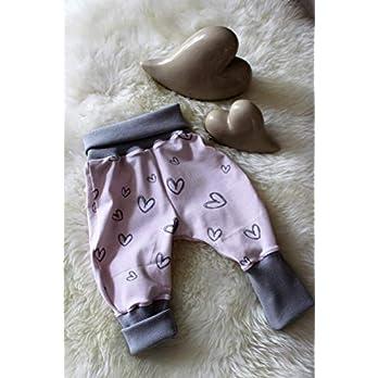 Baby Pumphose Schlupfhose newborn Gr. 56-68 Herzen grau-rosa handmade