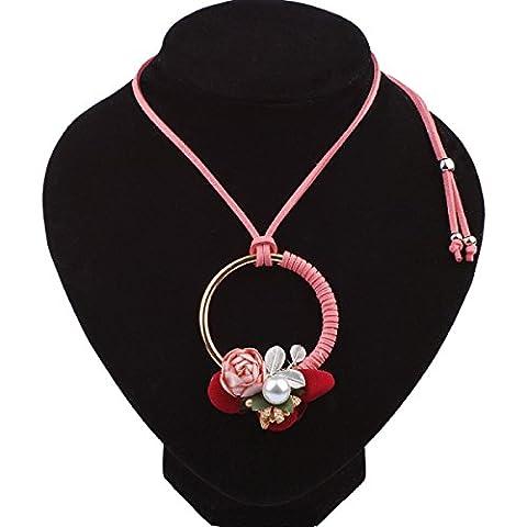 L / C. Tissu Bohème à La Main Du Vent National Ornements Collier De Fleurs,Pink-OneSize