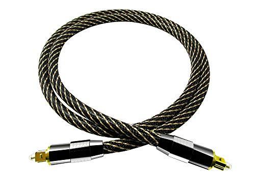Easyday 1.5m 5m TOSLink Digital Optical Audio Cable (5 Feet / 1.5 Meter, Stripe_OD7.0mm)